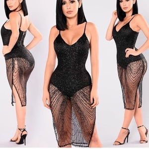 Glitter bodysuit sheer dress